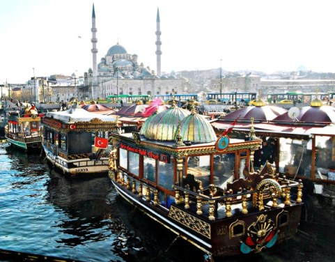 Food boats at Galata Bridge, Istanbul