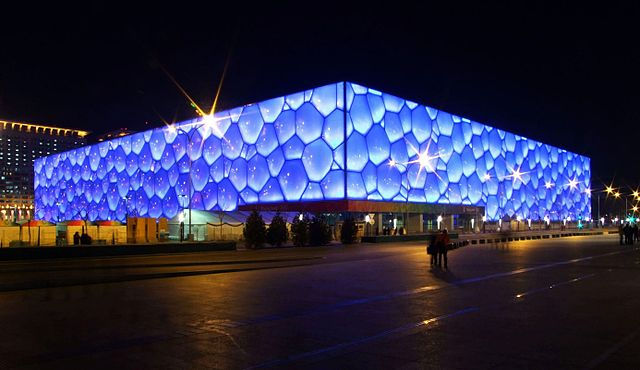Night view of Beijing National Aquatics Center 640px